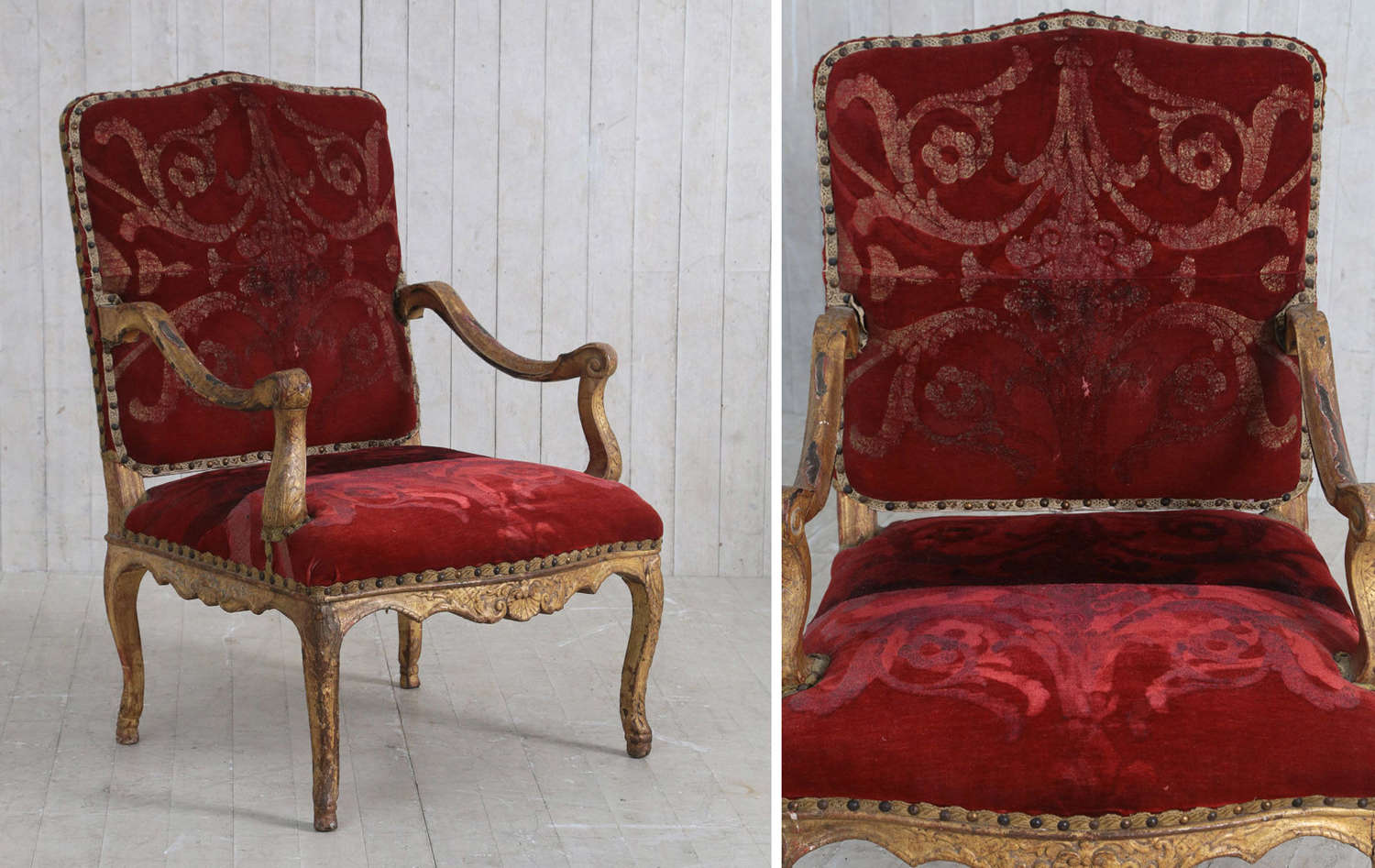 18th century French carved Giltwood Regence armchair