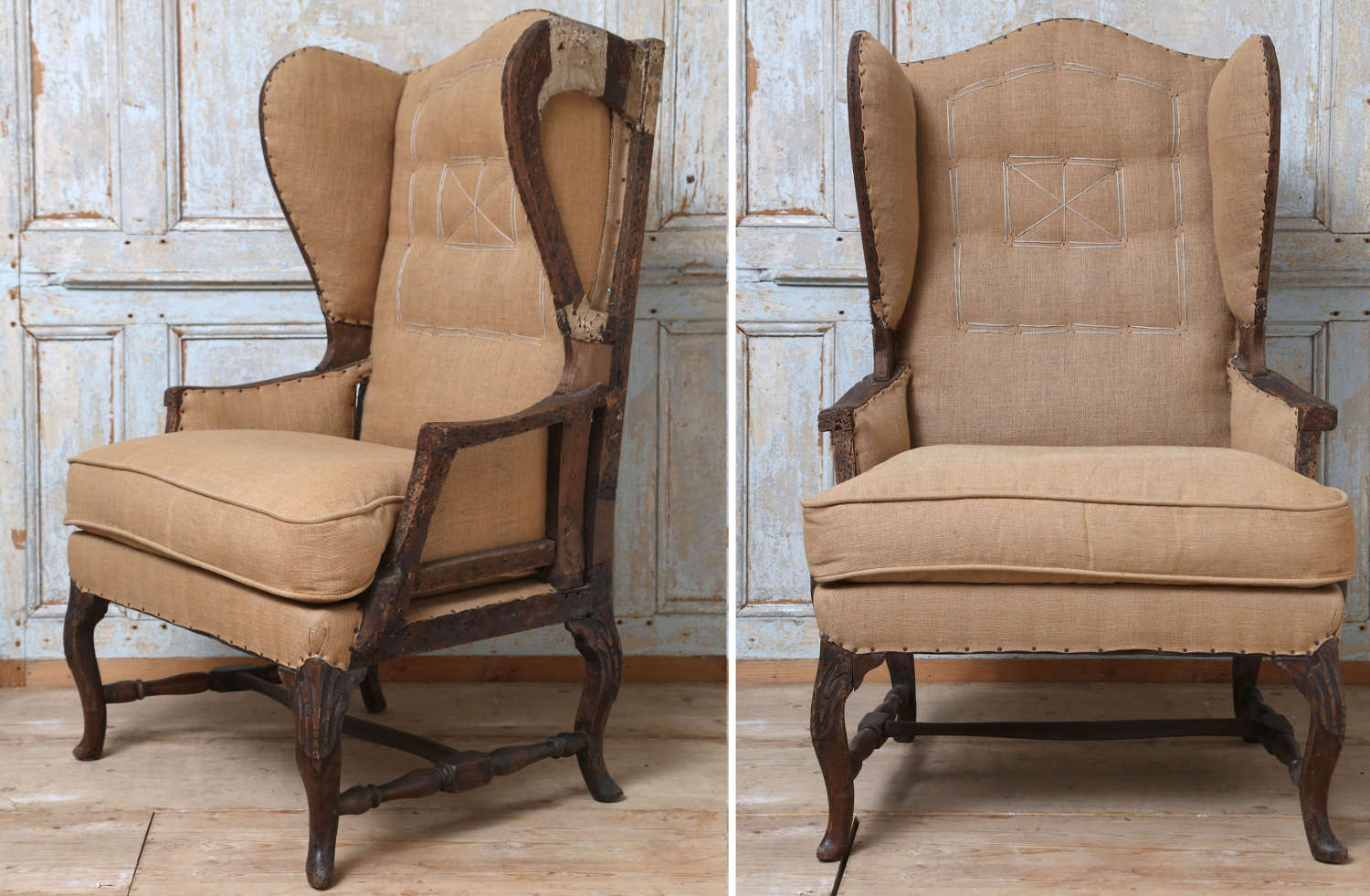 French 19th century high Wingback armchair