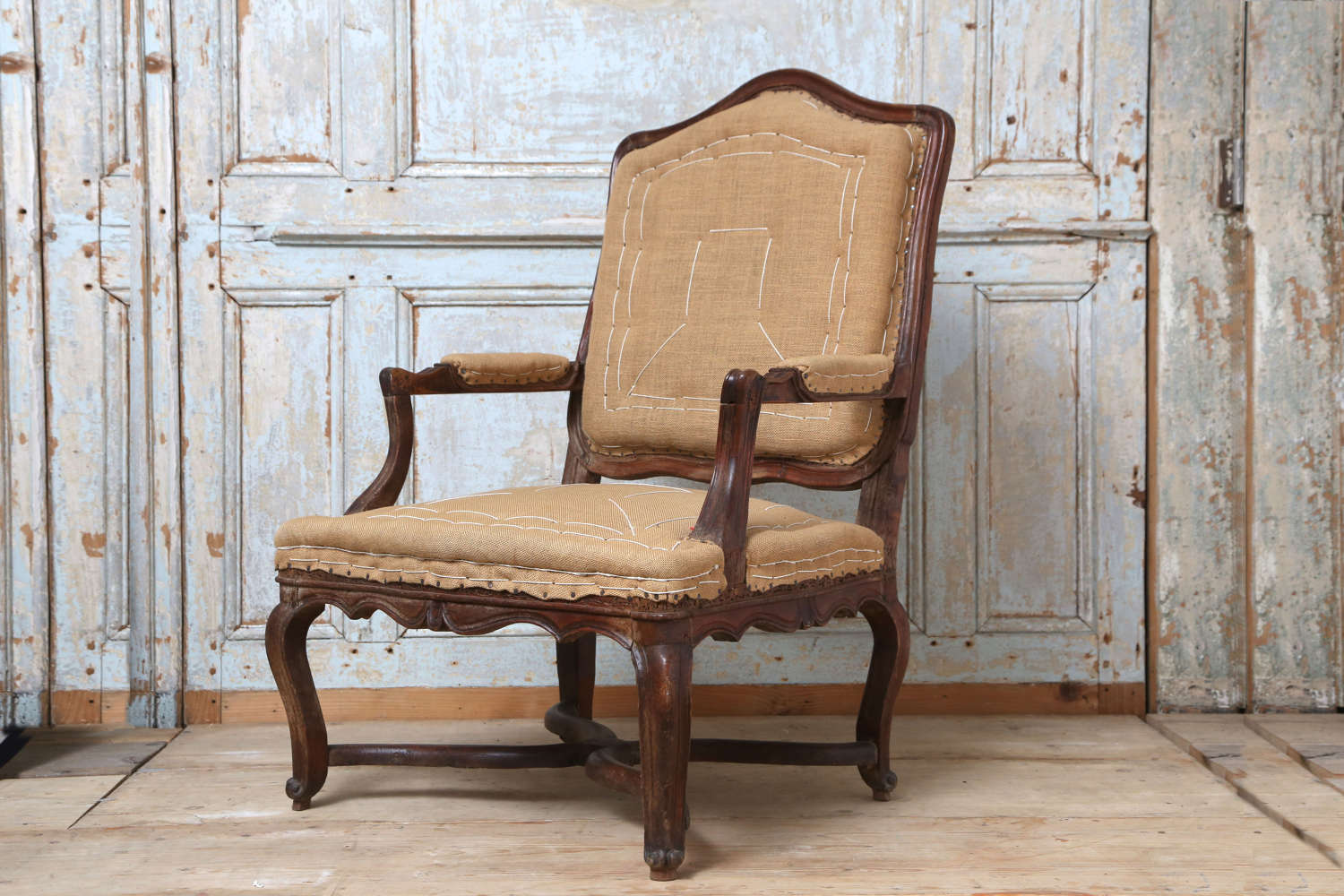 French 18th century fruitwood Regence armchair