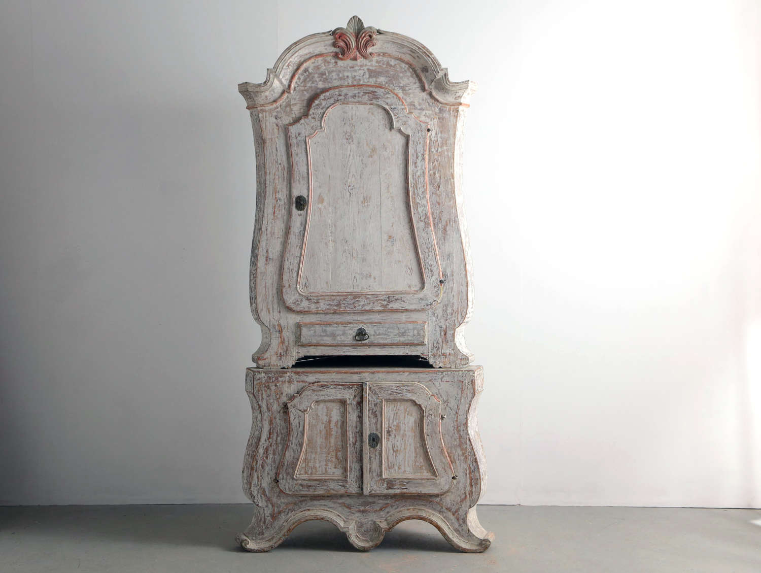 18th century Swedish painted corner cupboard