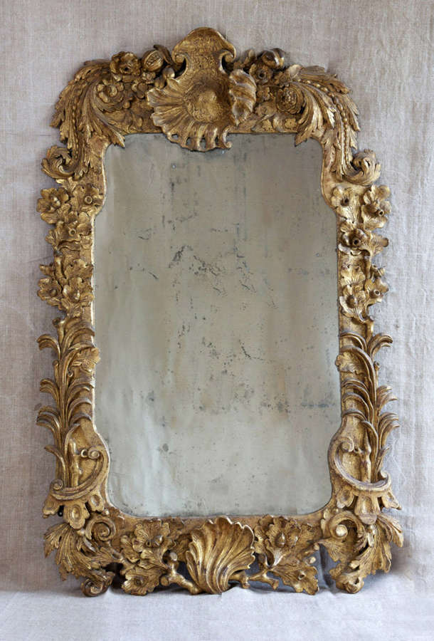 18th century Irish rococo giltwood mirror