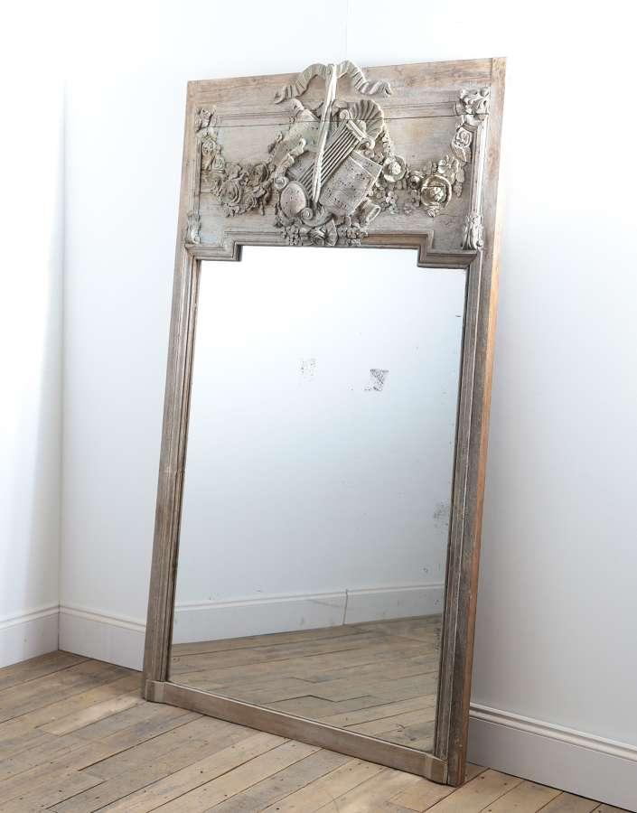 18th century French oak trumeau mirror