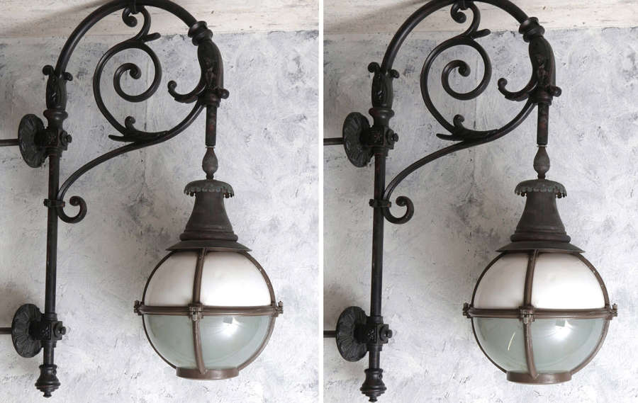 Pair of large 20th century French globe lanterns