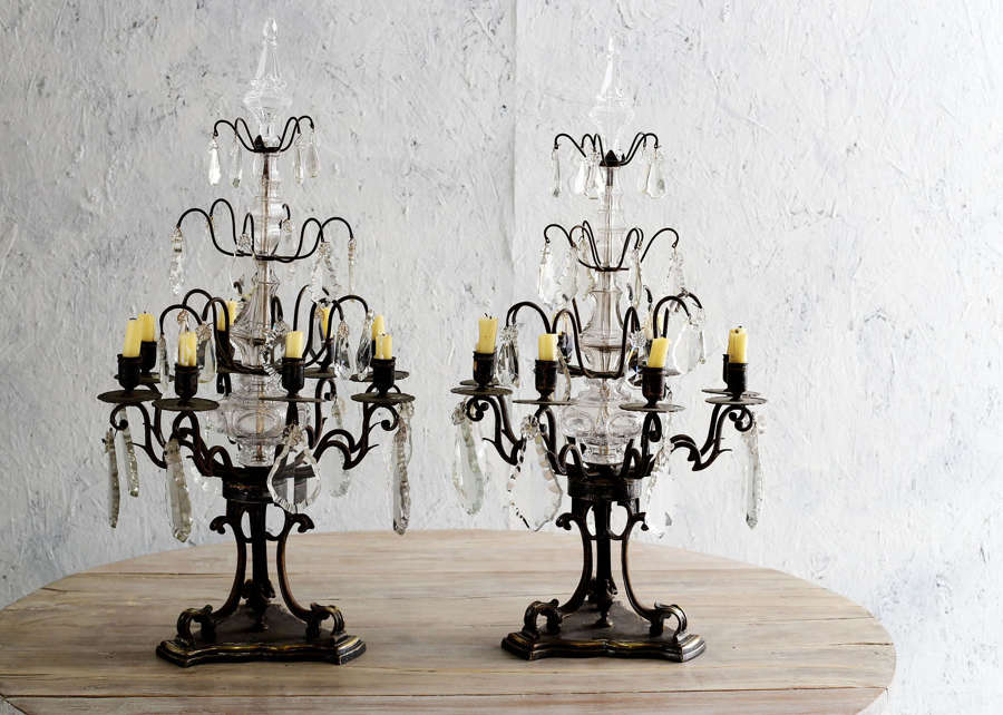 Pair of 19th century French crystal girondoles