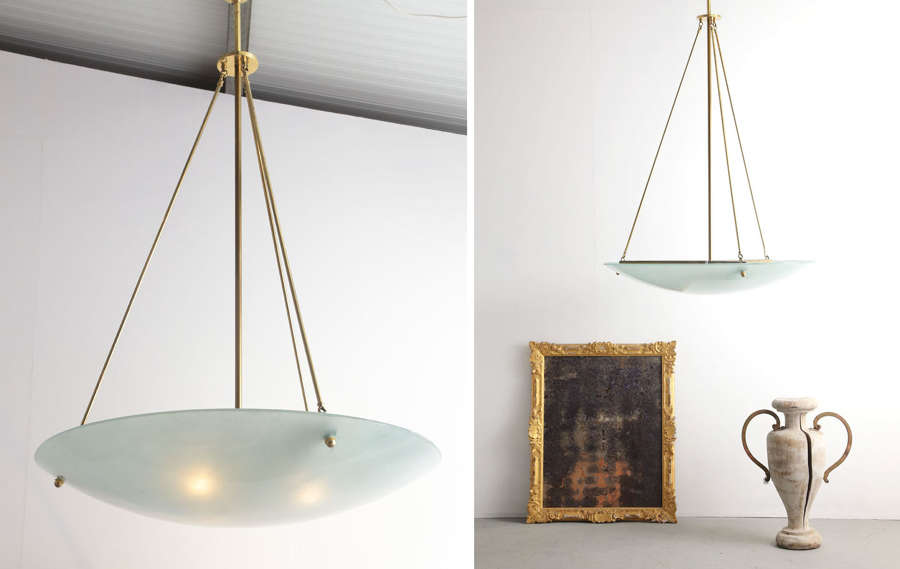20th century French grande suspension ceiling light