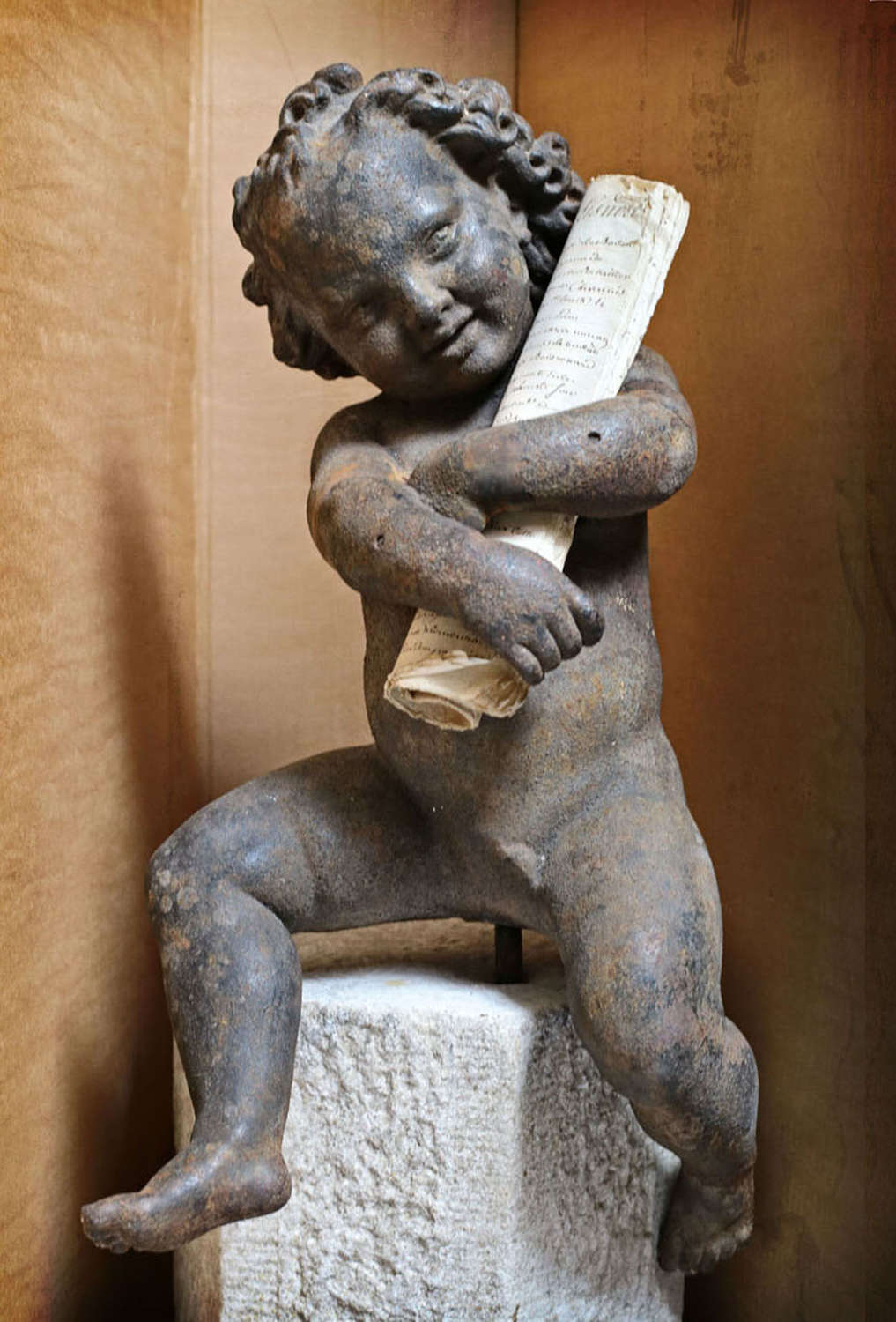 18th century French cast iron putti
