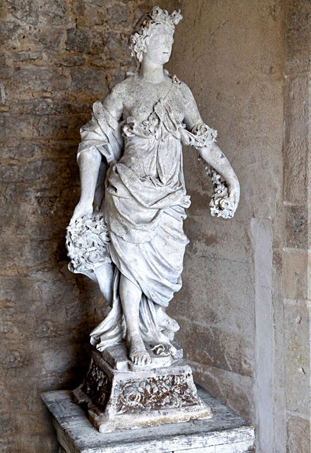 18th century French stone statue of Flora