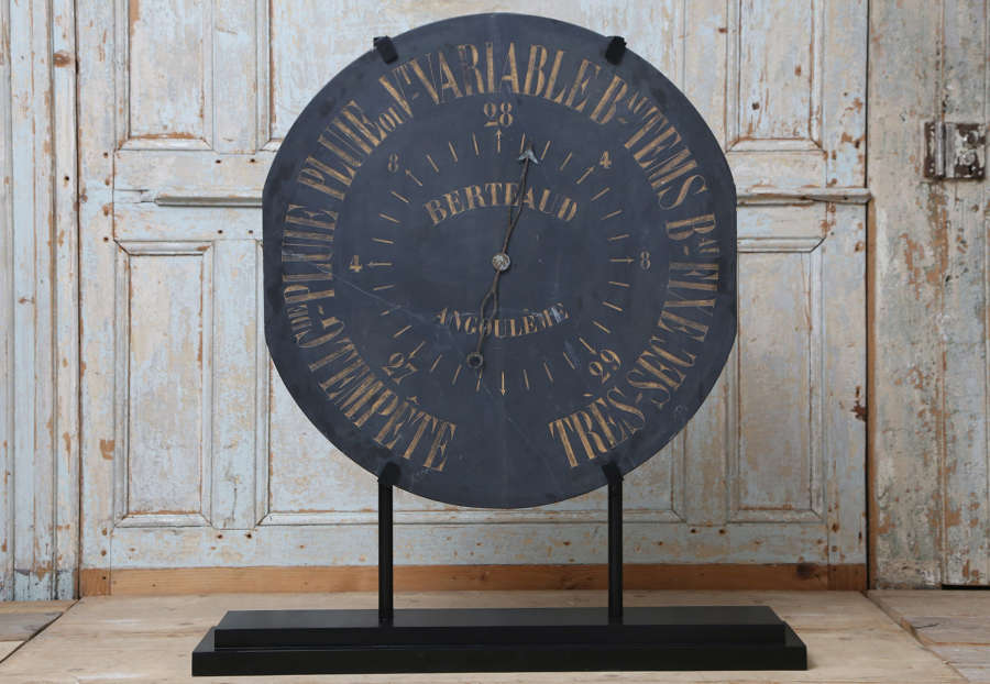 19th century French slate barometer face on a metal stand