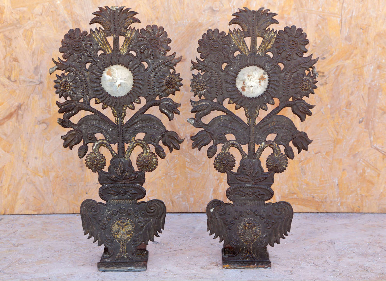 Pair of French repousse church altar decorative stands