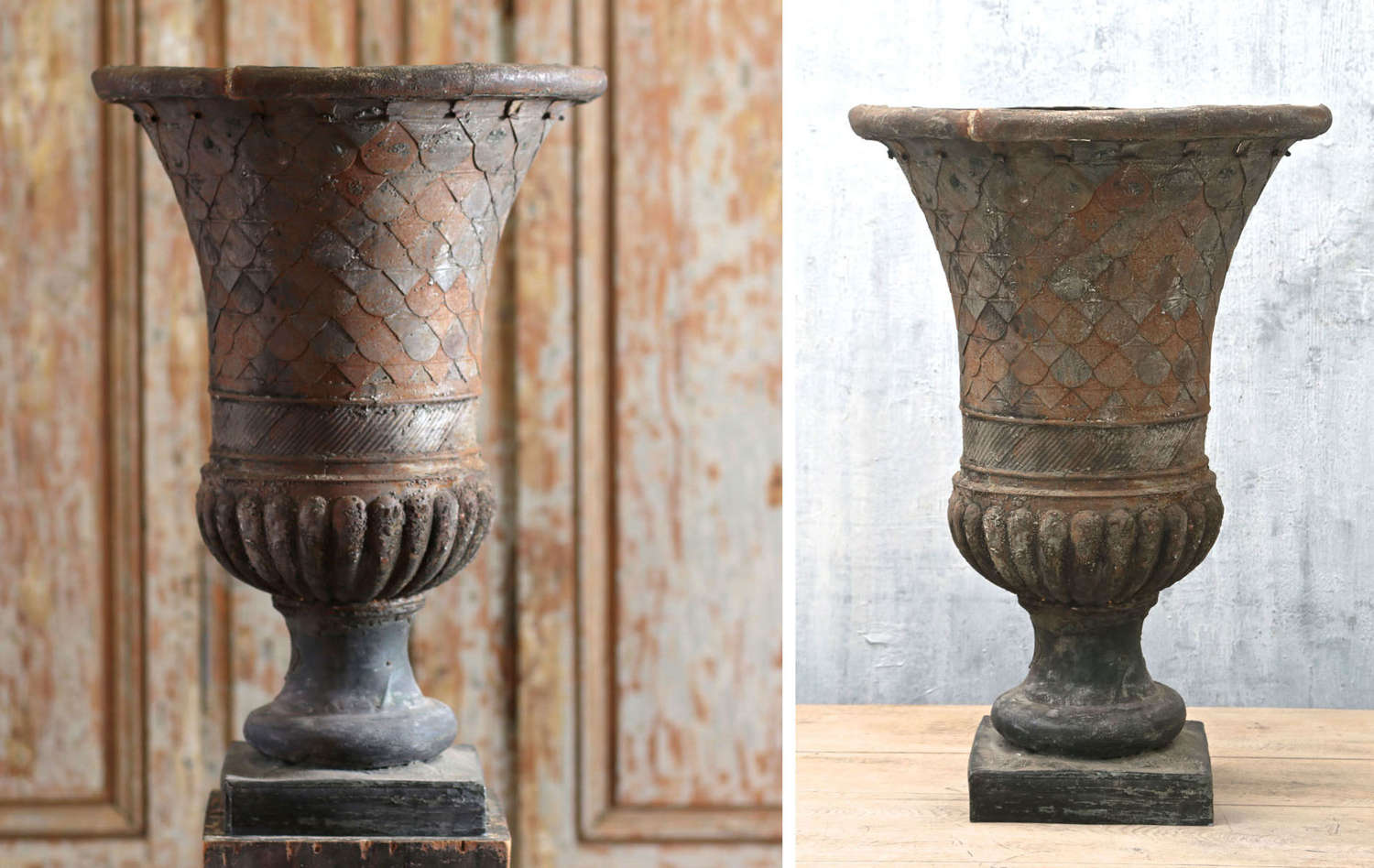 19th century French tole and zinc urn