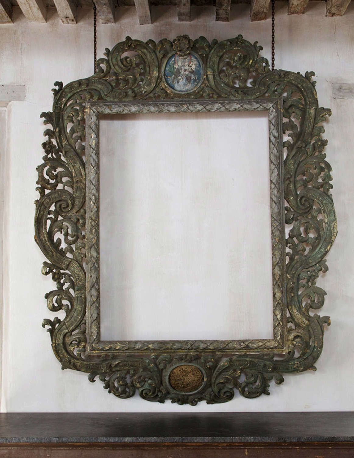 18th century large Austrian Baroque carved wooden frame