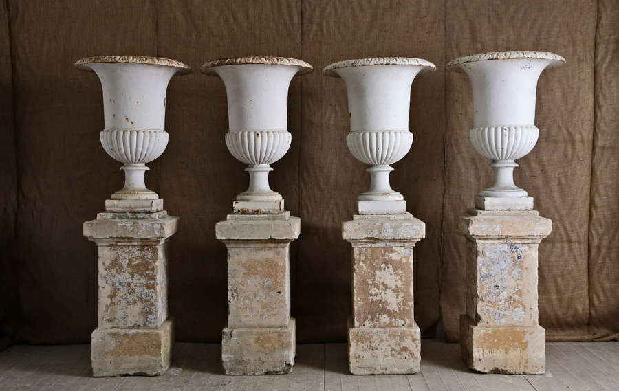 Set of 4 19th century French cast iron urns