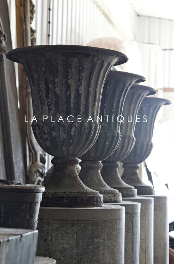 Set of 4 18th century French Directoire cast iron urns