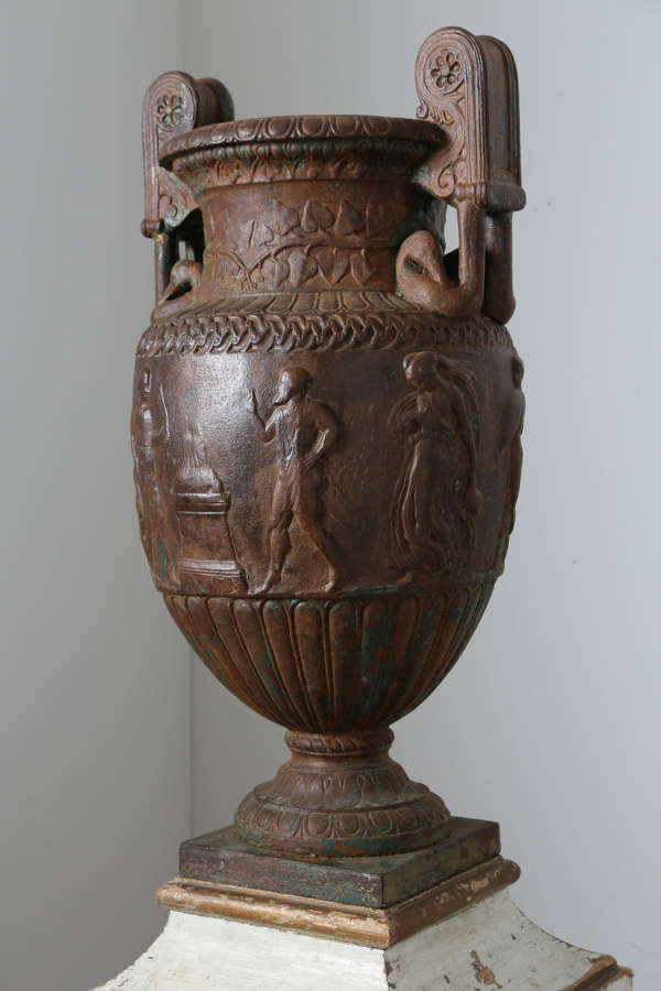 19th century French cast iron urn