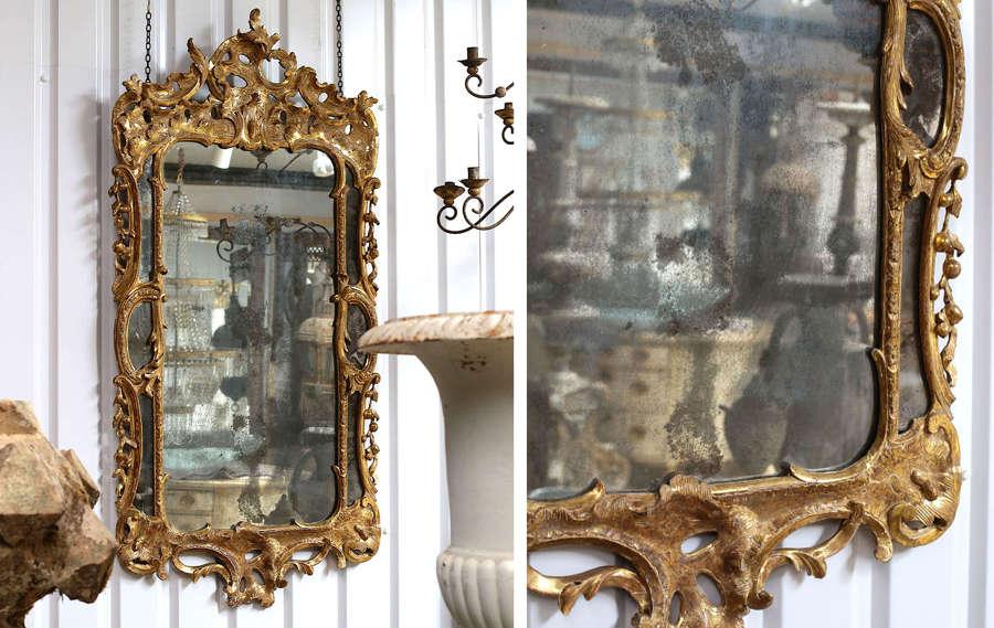 18th century English George III giltwood rocco mirror