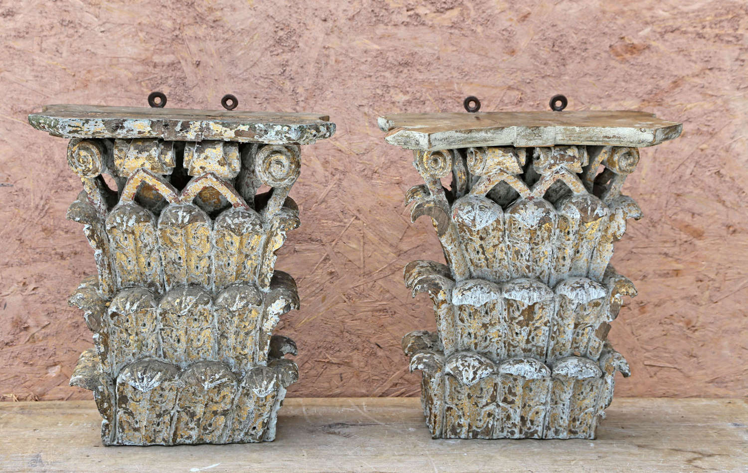 Pair of 18th century Italian carved wooden capitals