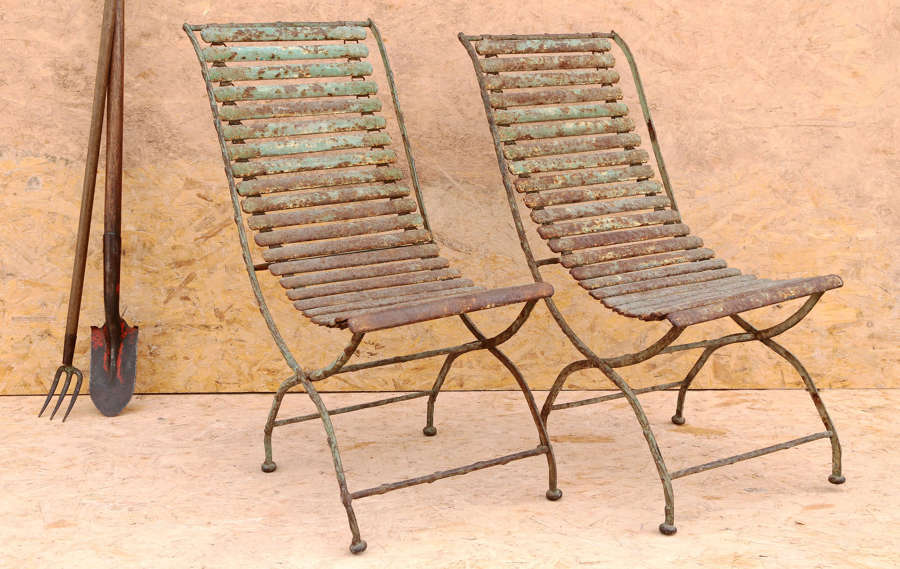 Pair of 19th century French wrought iron folding garden chairs
