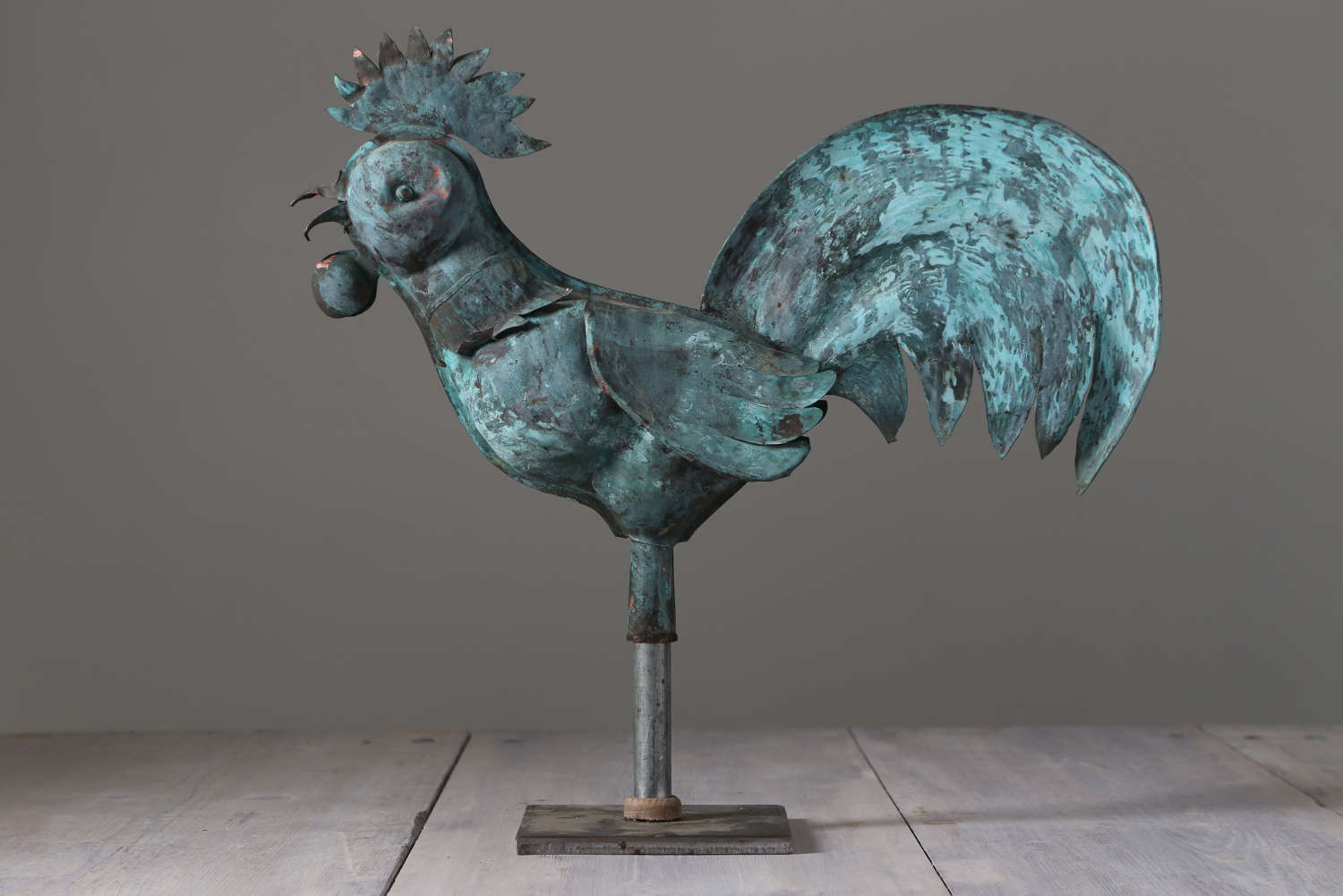 19th century French Copper Cockerel Weathervane mounted on a stand