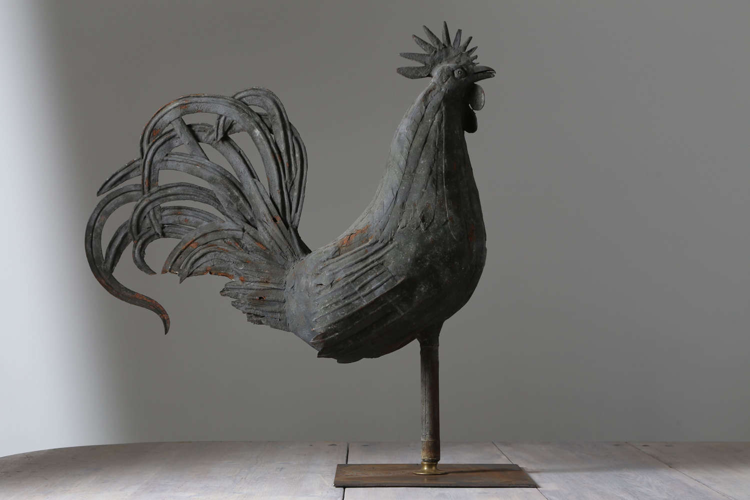 18th  century French  Metal Cockerel Weathervane on a stand