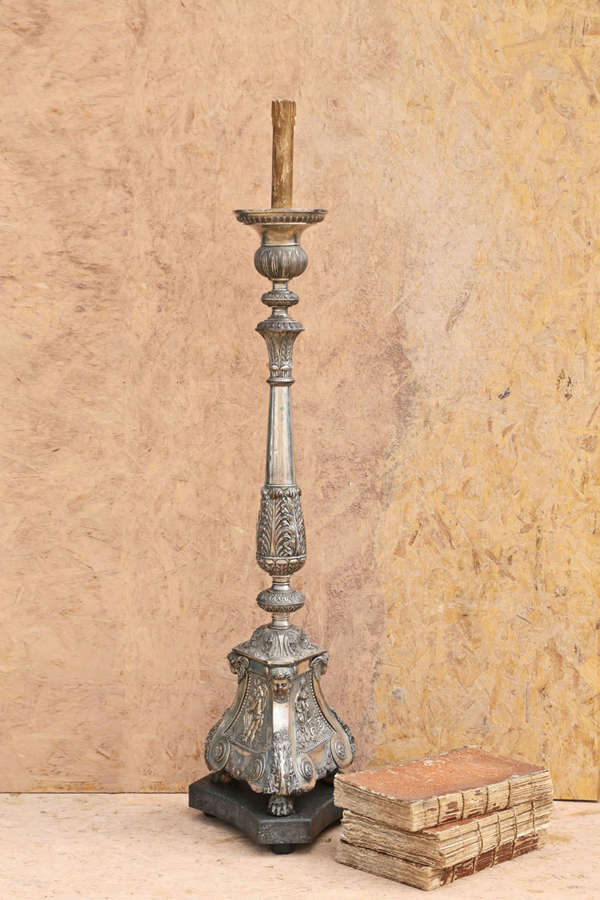 19th century French Silver Plated Electric Floor standing Candelstick