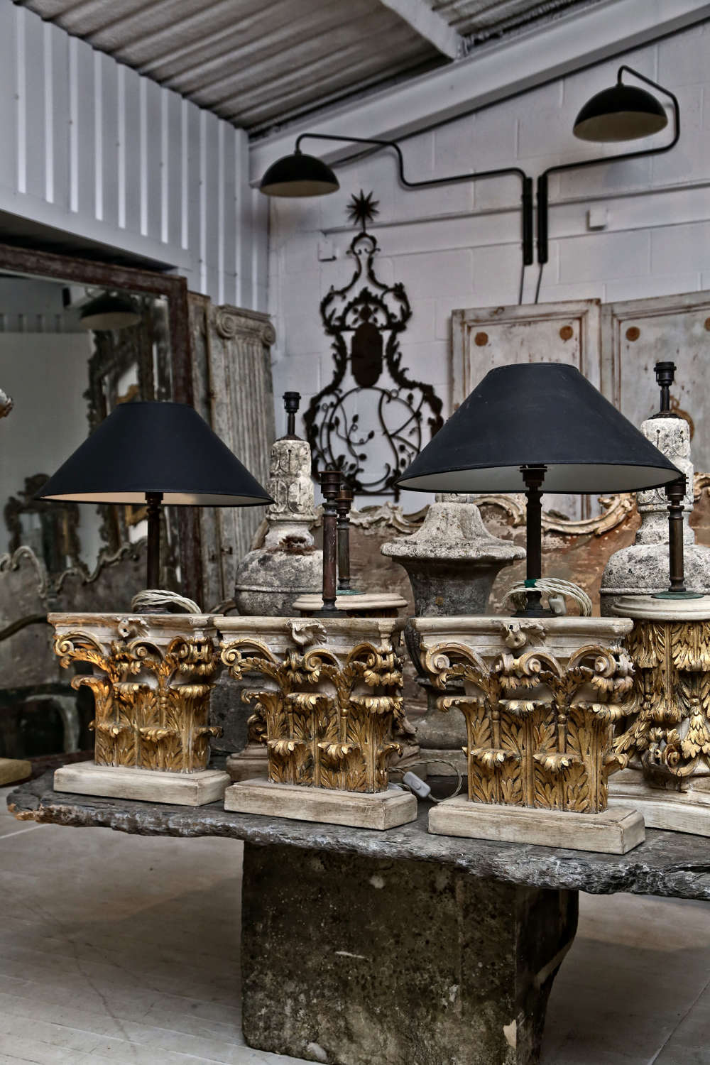 Pair of Late 18th century Carved Giltwood Capitals converted to Lamps
