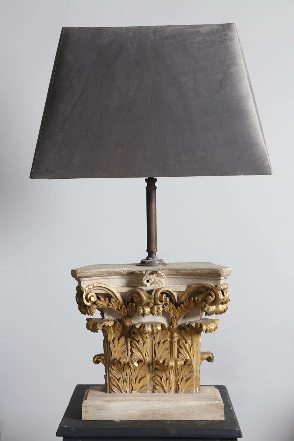 Late 18th Carved Giltwood Capital converted into a Lamp