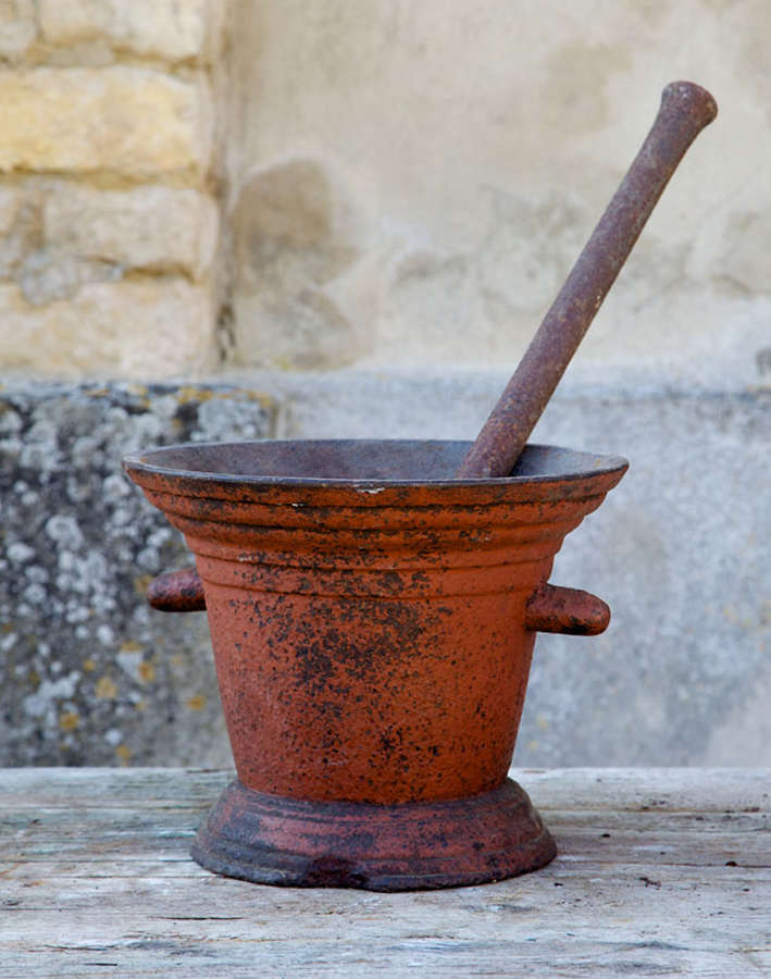 18th century French Cast Iron Pestle and Mortar