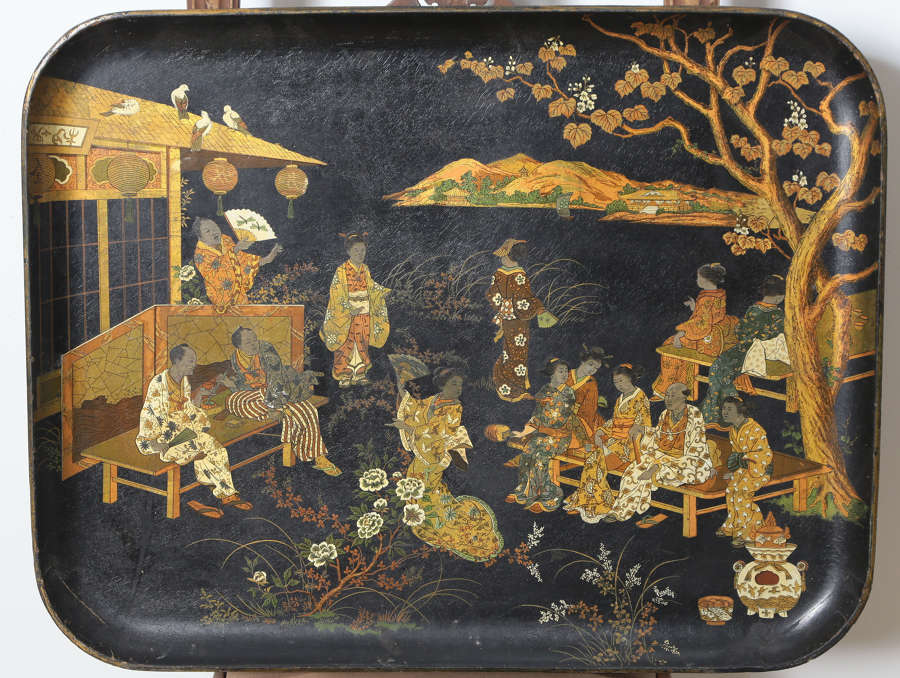 19th century Chinese Black Lacquer Paper- Mache Tray