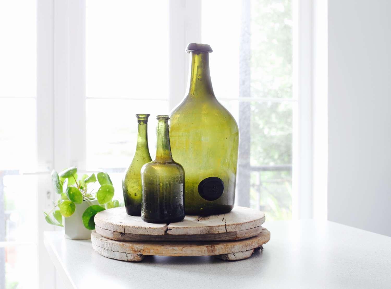 Set of 3 18th century French Wine Bottles