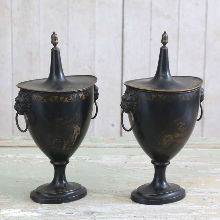 Pair of 19th century English Tole Painted Chestnut Warmers