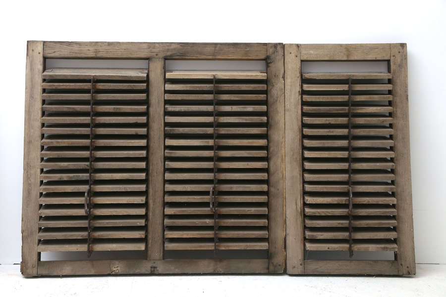 19th century French Oak Louvre Shutters