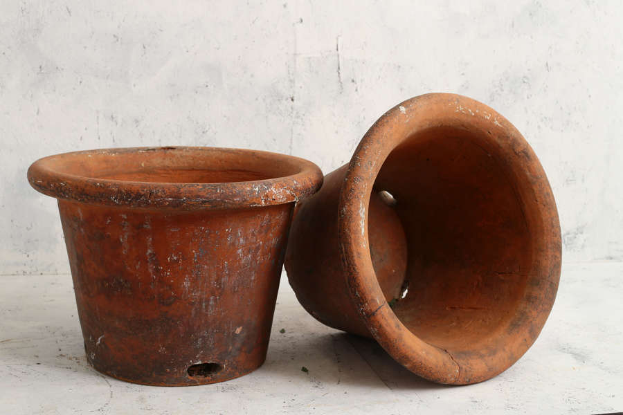 Pair of early 19th century large English Terracotta Flowerpots
